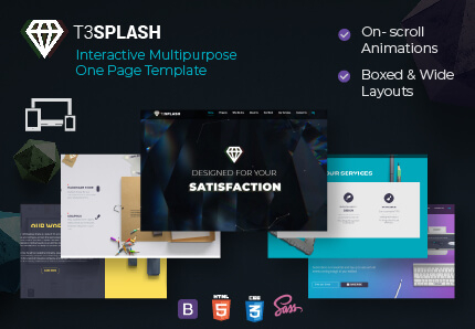 T3 Splash - One Page Modern TYPO3 Template